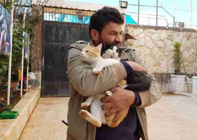 This man is risking his life to care for the cats trapped in the middle of war-torn Syria.