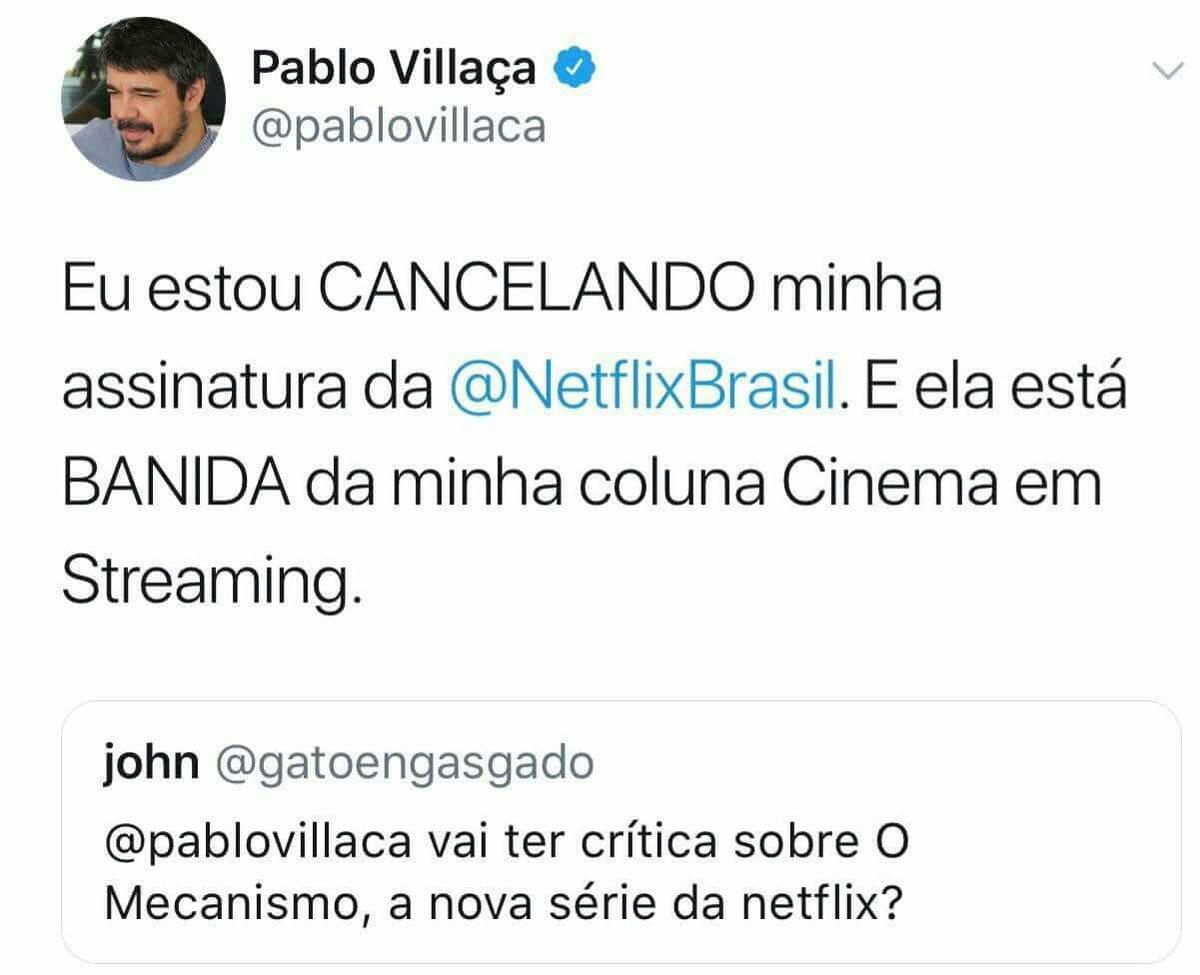 Resultado de imagem para Pablo Villaça cancelar Netflix