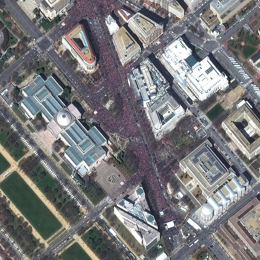 This high-resolution satellite image of the March for Our Lives rally in Washington, D.C. was captured by DigitalGlobe's WorldView-2 satellite at 11:59 a.m. EDT on Saturday. Image: @DigitalGlobe