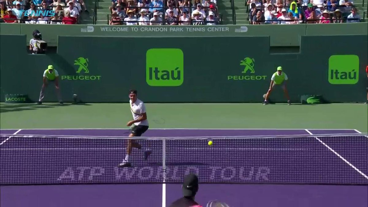 Net skills = next level! Check out this barely looking @rogerfederer shot... #MiamiOpen
