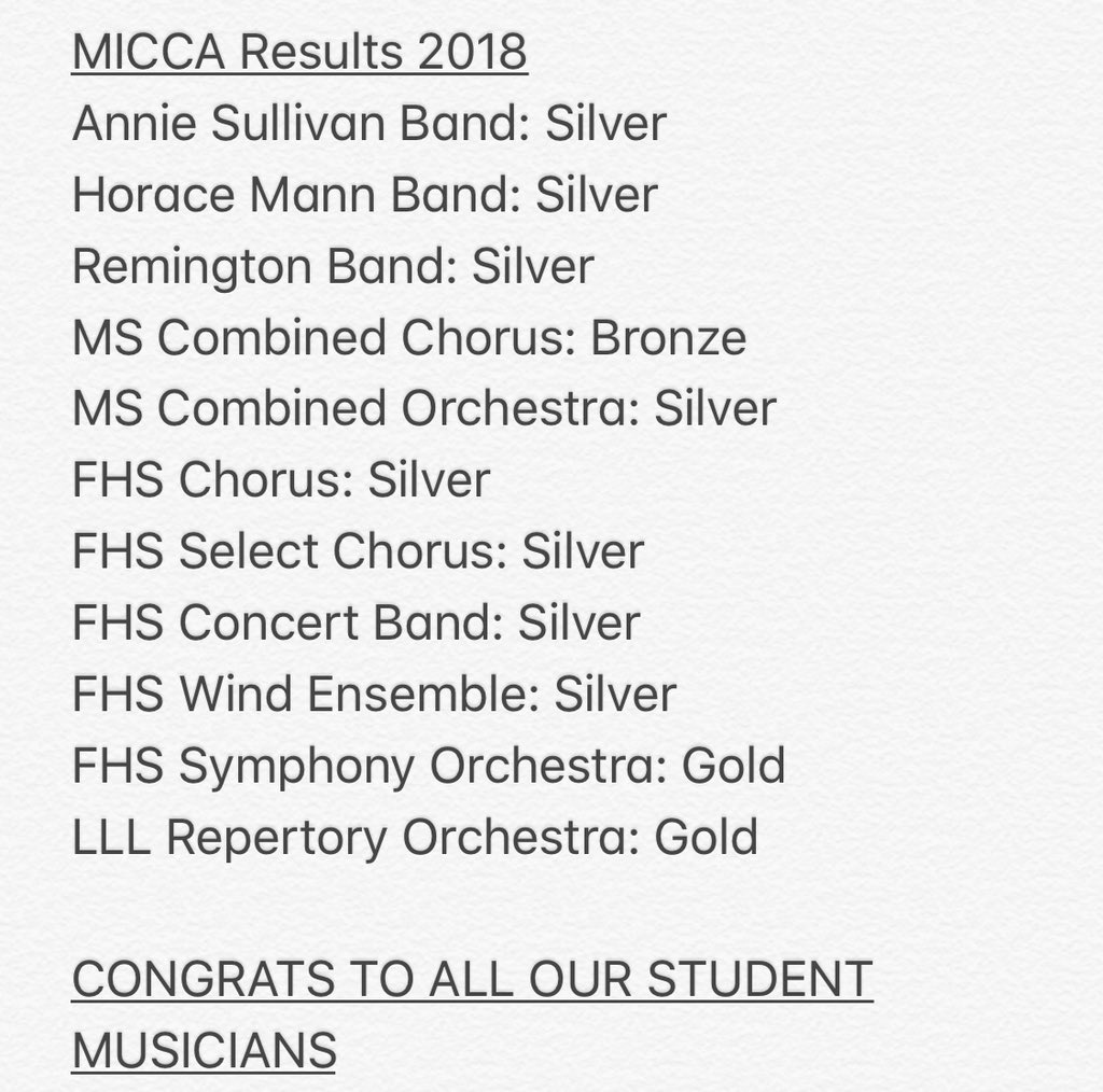 Franklin Public Schools: Outstanding music performances at MICCA