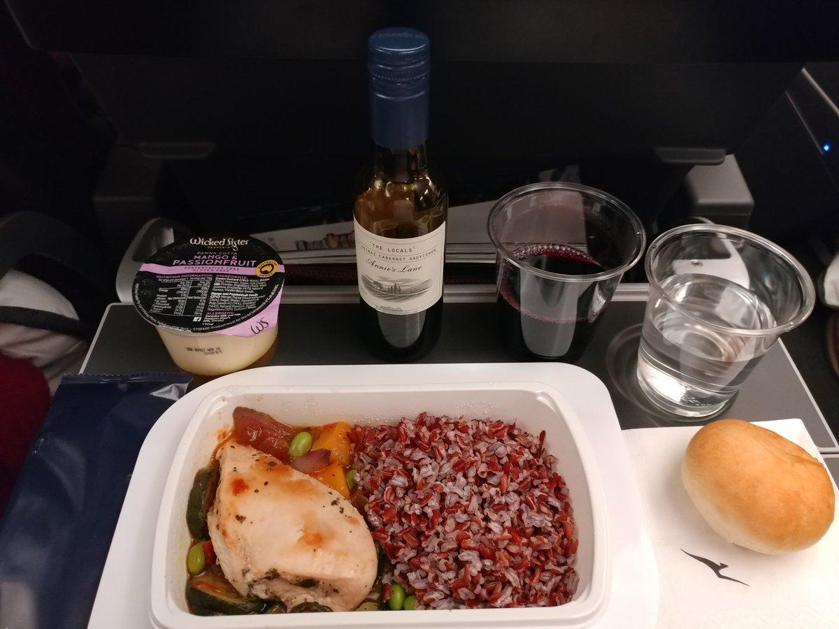 The food in economy on the inaugural Australia-UK flight