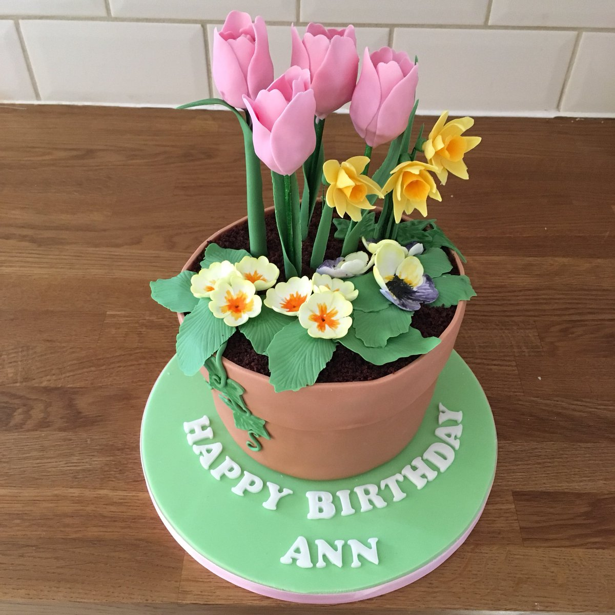 Jades Cakes On Twitter Flower Pot Cake With Cake Pop Tulips Hello