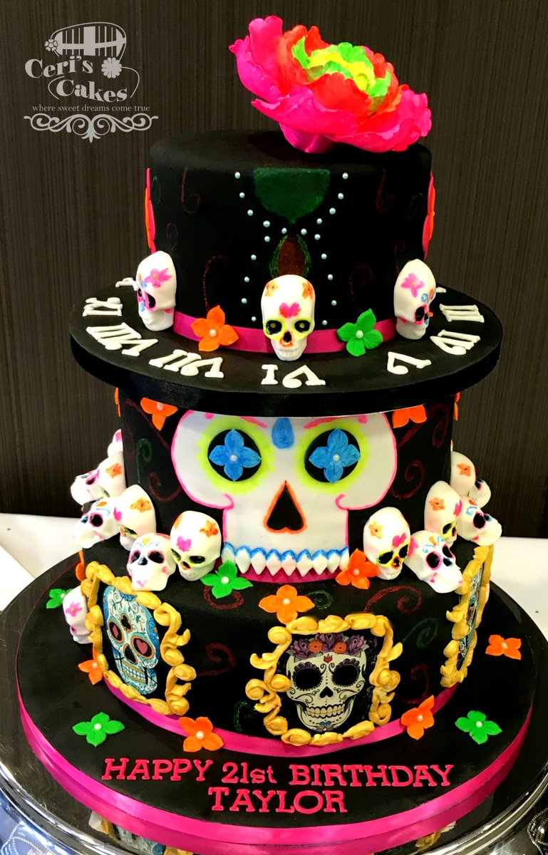 Ceris Cakes On Twitter Da De Muertos Sugar Skulls Cake 6 Lime