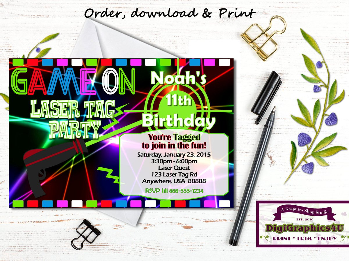 photograph relating to Laser Tag Birthday Invitations Free Printable called lasertaginvitation hashtag upon Twitter