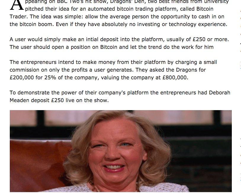 bitcoin trader deborah meaden)