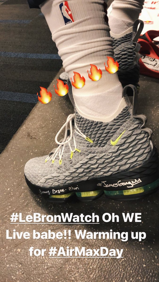 """size 40 03bee ce80e Nike LeBron 15 """"Air Max 95"""" for  KingJames in Brooklyn   LeBronWatchpic.twitter.com 2FfCIPhj8a"""
