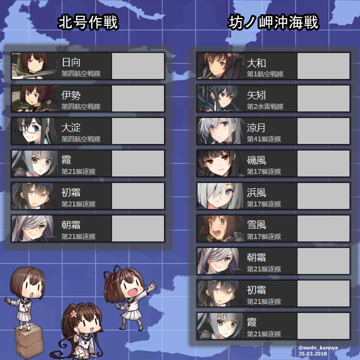次の艦これイベントは坊ノ岬沖海戦か北号作戦と予想されます。両作戦関連の史実艦のシートを作りました!良かったらレベリング目標などの参考にして下さい! #艦これ