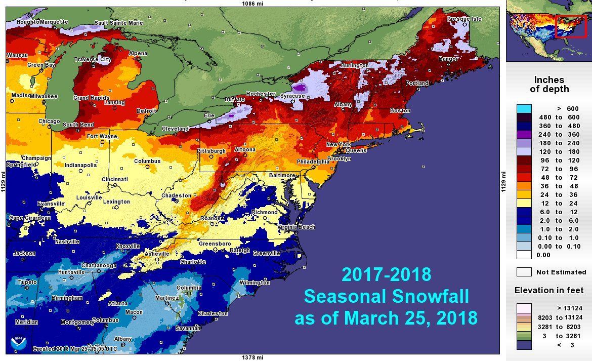2017 2018 Eastern Us Snowfall Totals As Of March 25th Arbor - Map-of-us-snowfall