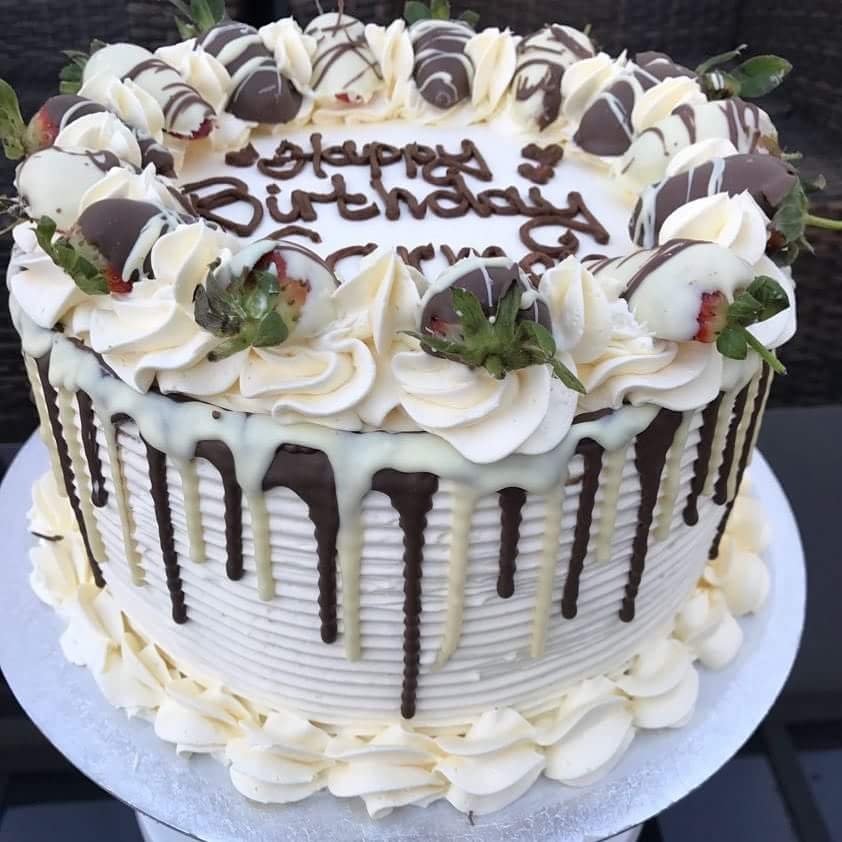 Fresh Cream Birthday Cake With Chocolate Drips And Covered Strawberries Definitely One Of