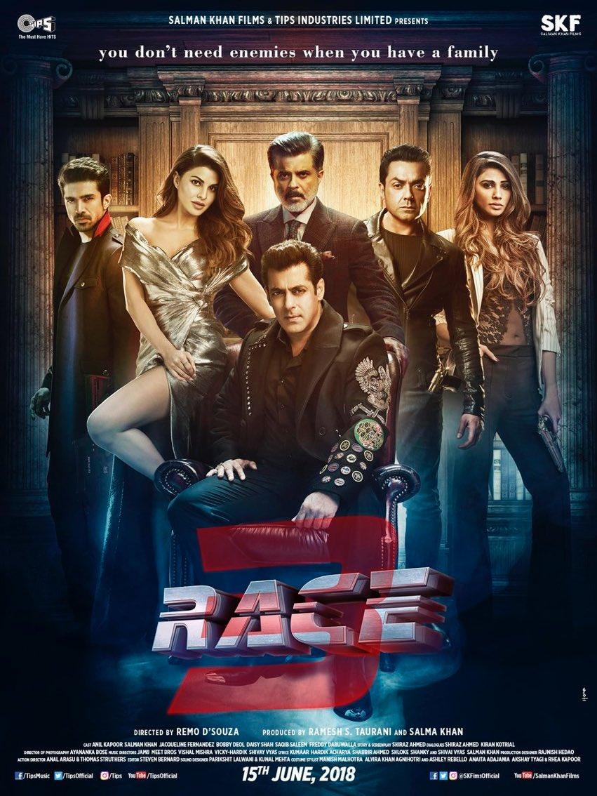 Race 3 Poster starring Salman Khan, Anil Kapoor, Bobby Deol, Jacqueline Fernandez
