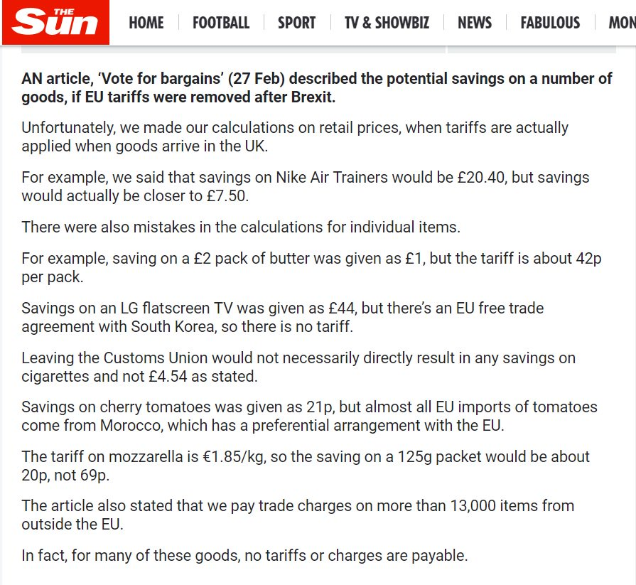 The Sun corrects - thoroughly and at length - its story on tariffs & the EU Customs Union