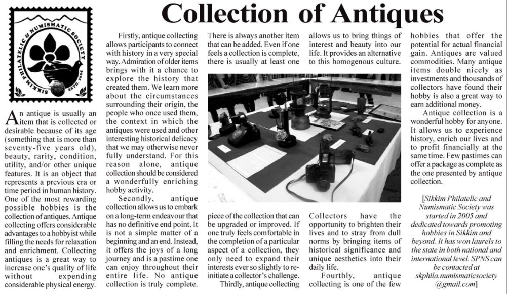 Article 4 - Collection of Antiques by Roshan Prasad.