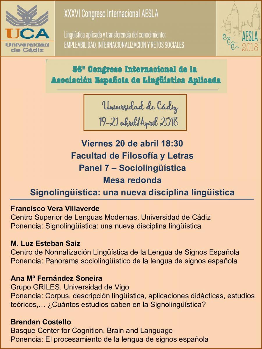 """Signolingüistica: una nueva disciplina lingüistica"" en el congreso AESLA - 20 abril, Cádiz DZMlI9BXUAA1Rbc"