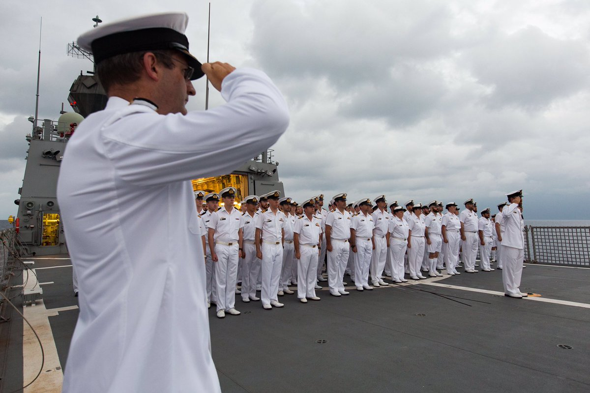 #YourADF's HMAS Toowoomba crew remembers those lost in HMAS AE1 in the waters off #PNG #LestWeForget