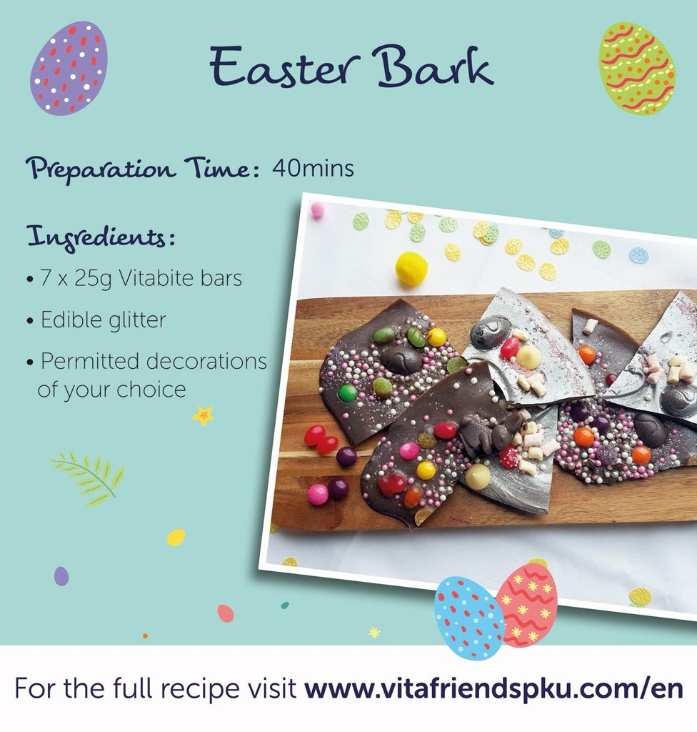 We are getting very excited about Easter weekend so we created some brand new recipes for you to try! Our Easter countdown starts with Easter Bark. A great way to get creative in the kitchen! Find the recipe here:  http:// vitafriendspku.com/en/recipes/low  &nbsp;  … #pku #pkurecipes #AVitafriendsEaster<br>http://pic.twitter.com/bzP6LJNjct