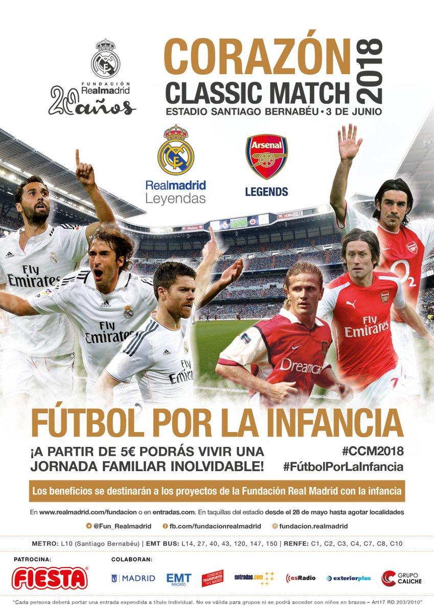 Os presentamos el cartel del próximo Corazón Classic Match 2018 ❤️Las Leyendas del Real Madrid C. F. y Arsenal Legends medirán sus fuerzas en un partido inolvidable 💪 #CCM2018 👧👦⚽#FútbolPorLaInfancia 🍭@FIESTAColombina Compra tus entradas aquí 🎟️👉http://goo.gl/Kfidh1