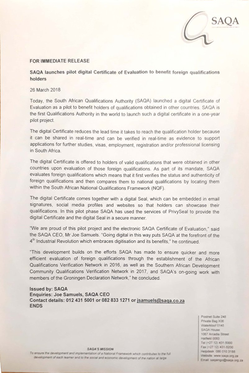 Saqa On Twitter Saqa Launches Pilot Certificate Of Evaluation To