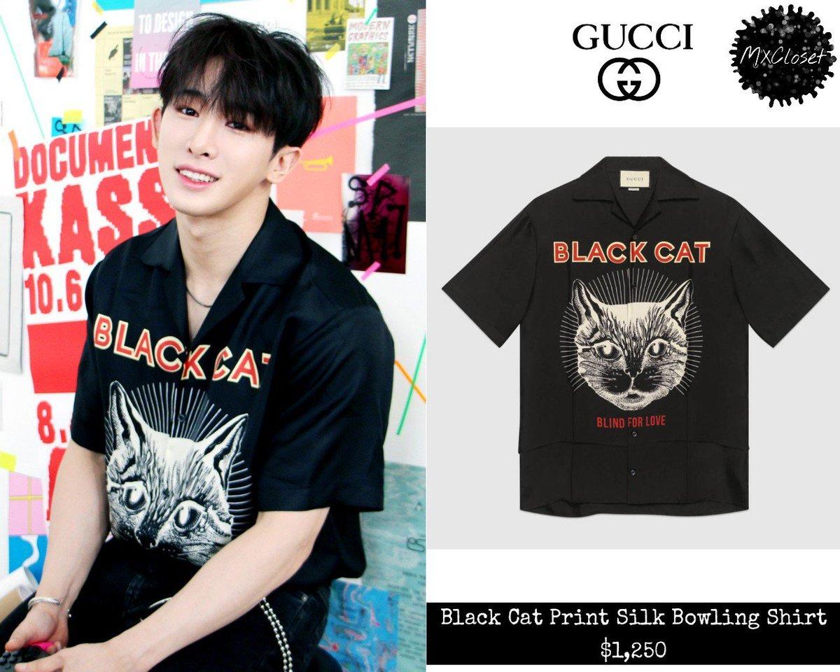 c82145177bf 180326  THE CONNECT Jacket Shooting GUCCI - Black Cat Print Silk Bowling  Shirt  1