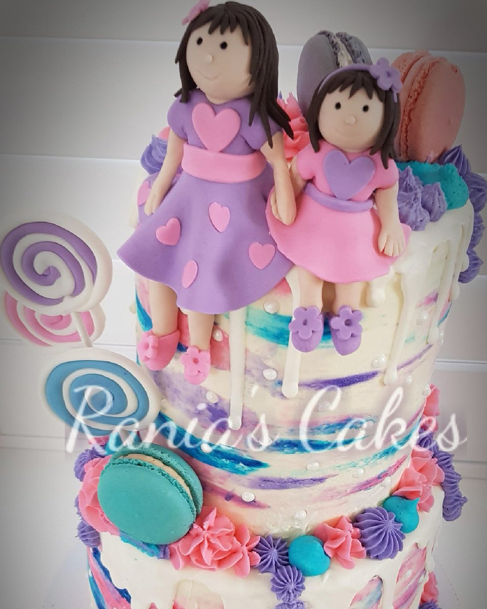 Stupendous Ranias Cakes On Twitter Happy Birthday Little Angels 2Sisters Funny Birthday Cards Online Elaedamsfinfo