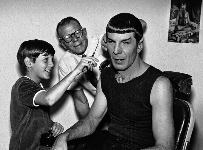 The L E G E N D A R Y haircut of Leonard Nimoy as \Spock\  Happy Birthday!!!  S T A R  T R E K