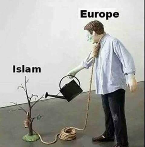Europa mit einem Strick um den Hals gießt das zarte Bäumlein des Islams solange, bis er groß genug ist es an ihm zu erhängen.