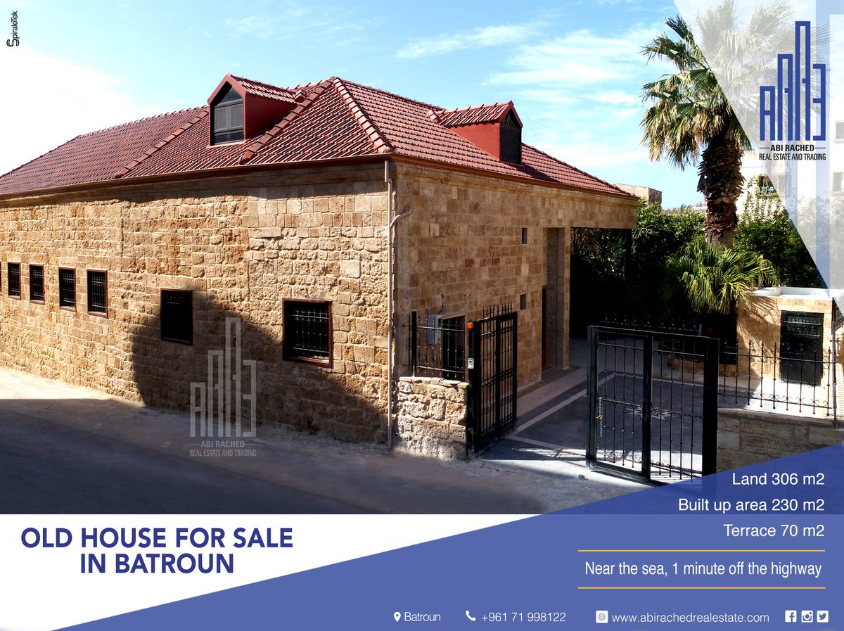 ... 6 M2 Roof Terrace 75 M2 Cave 12 M2 5 Bathrooms 1 Dining Room Fireplace  For More Information, Contact Us At 71 998 122 @AbiRachedRE #batroun  #lebanon ...