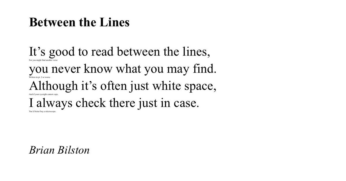 Brian Bilston On Twitter Heres A Short Poem Entitled Between The Lines