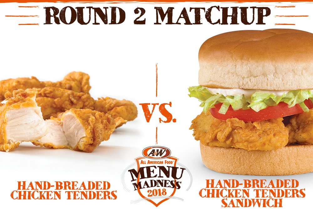 a w restaurants on twitter retweet to vote hand breaded chicken