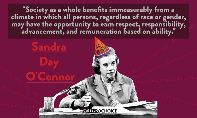 Happy birthday Sandra Day O\Connor, the first woman appointed to the US Supreme Court!
