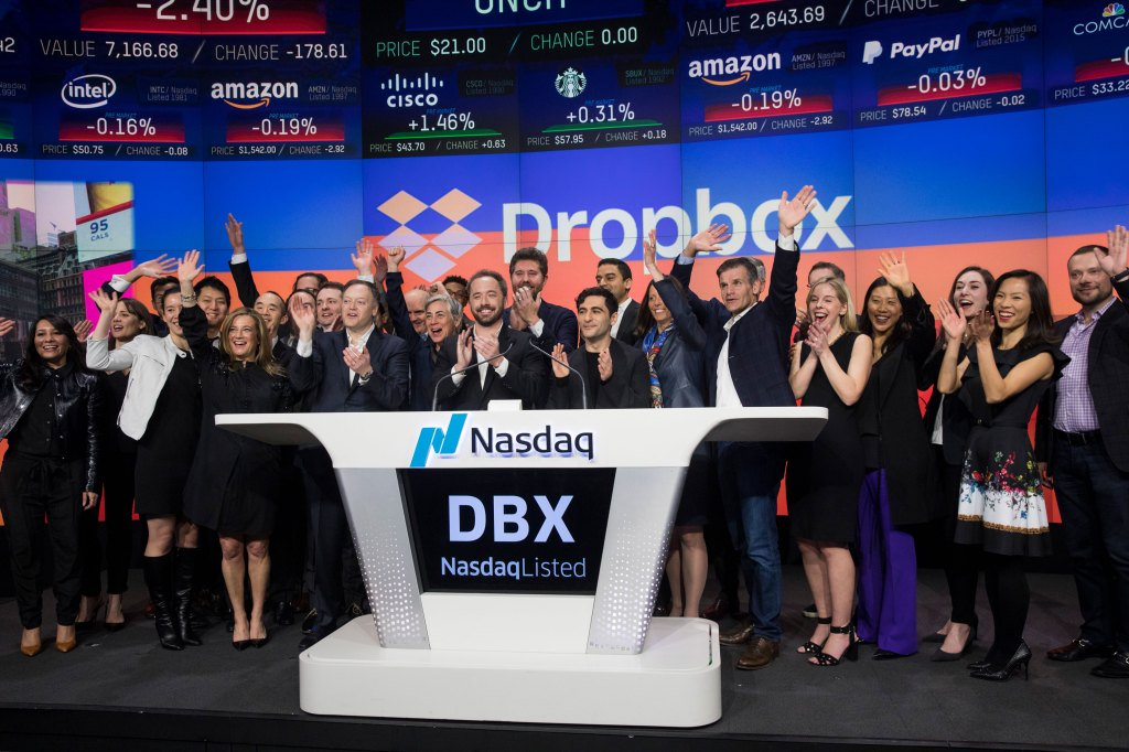 Dropbox up another 7% on day two by @katie_roof
