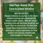 Image for the Tweet beginning: #AinaPono: Hawaii State Farm-to-School Initiative's