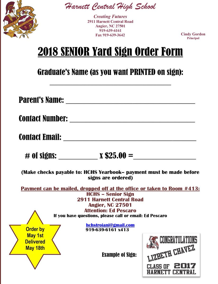 """yard sign order form  HCHS Counselors on Twitter: """"SENIORS: Pick up an order form ..."""