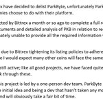 Image for the Tweet beginning: #ParkByte $PKB will be delisted