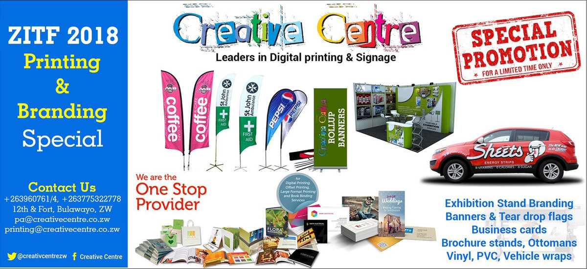 Creative centre zim on twitter contact us for your zitf1 printing creative centre zim on twitter contact us for your zitf1 printing stand branding in bulawayo flagsbanners business cardsbrochures backdrops reheart Image collections