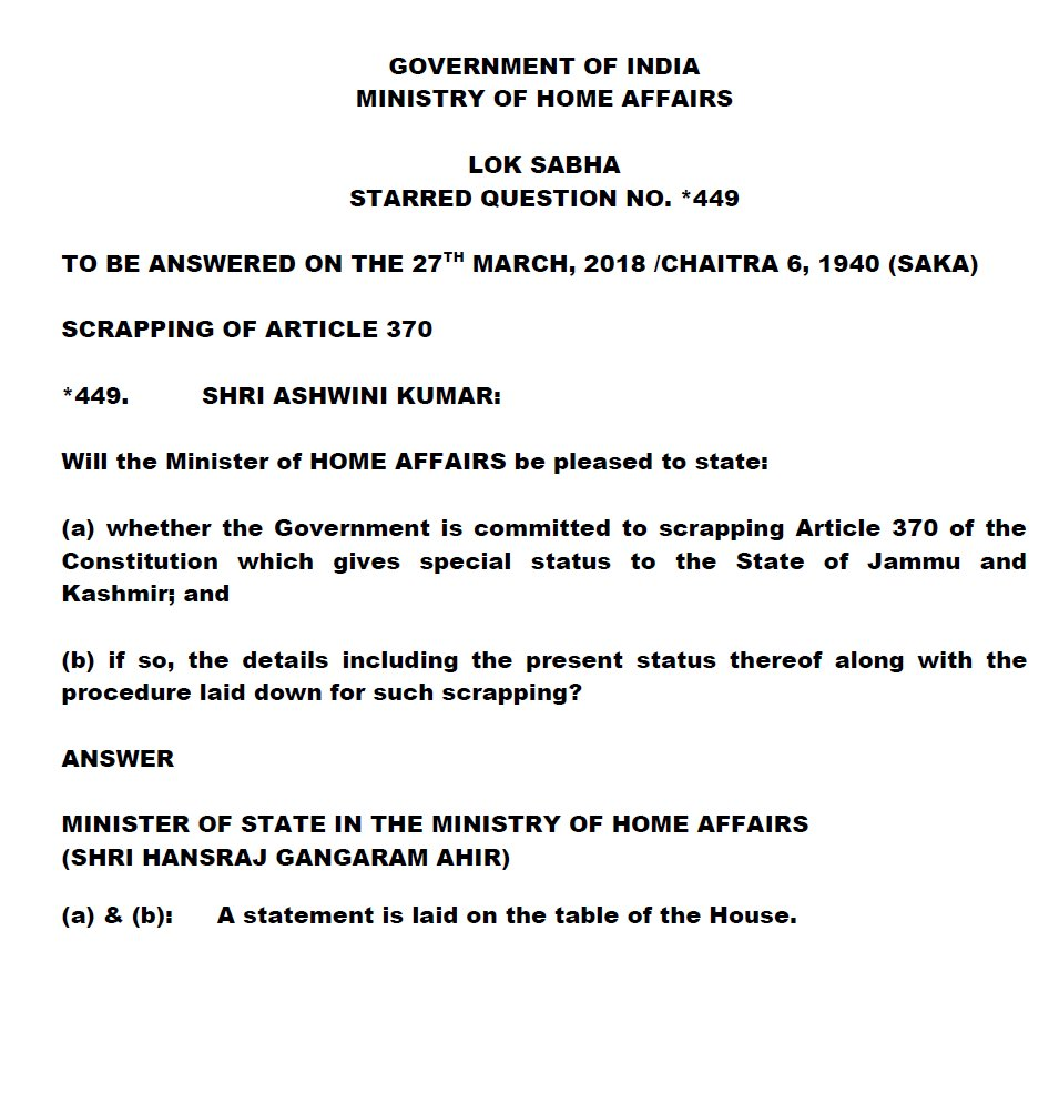 No proposal to scrap Article 370: GoI
