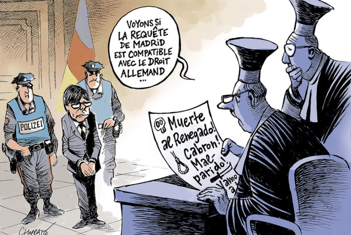 L'arrestation de Carles Puigdemont par l'Allemagne (un dessin de @Chappatte) https://t.co/GMzN68DM84