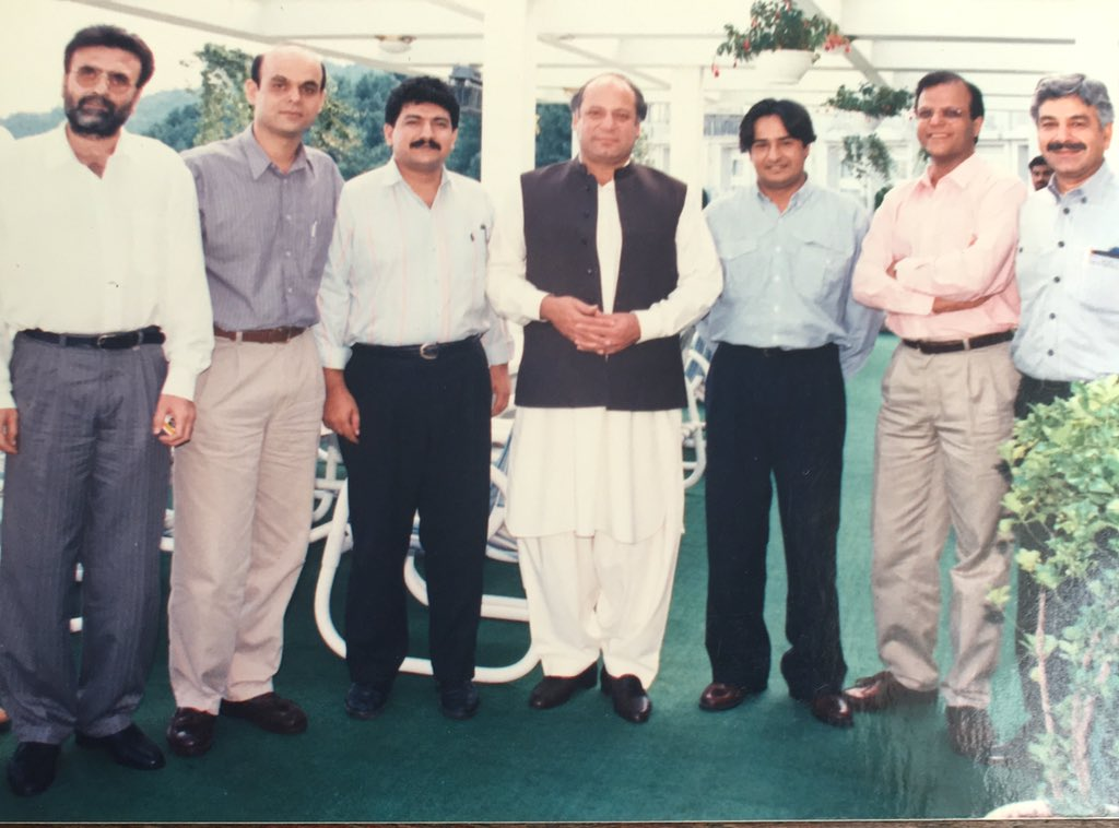 PC Bhurban August 1996.Once upon a time all the hairs of @AmirMateen2 and @javeednusrat were black moustache of @KhawajaMAsif was also black but Nawaz Sharif was not nazriati and we were also not chabi walley khiloney