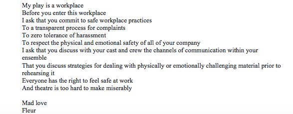 I added a statement to the start of my plays requesting safe workplace practices. Please use or adapt (I dunno, you might be into punctuation) as you see fit. I'd love to see playwrights make this part of the deal when it comes to working on our scripts. @NOW_aust #playwriting