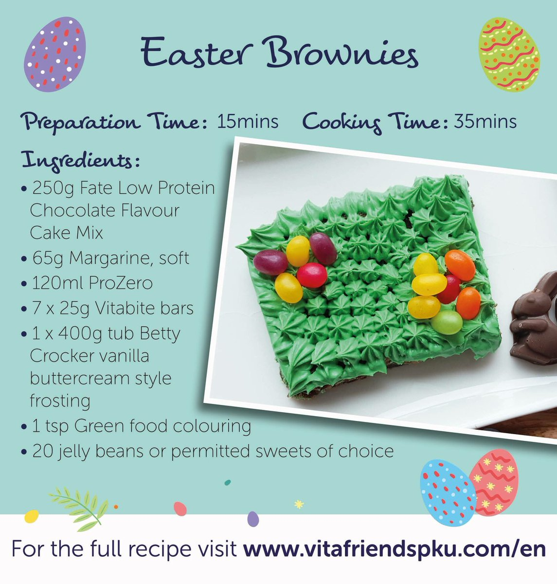 The Easter countdown continues! We&#39;ve got a delicious Easter brownie recipe for you today. Why don&#39;t you give it a go and let us know what you think? Recipe is here:  https://www. vitafriendspku.com/en/recipes/low -protein-brownies/ &nbsp; …  #pku #pkurecipes #AVitafriendsEaster<br>http://pic.twitter.com/fjTKwMlgLe