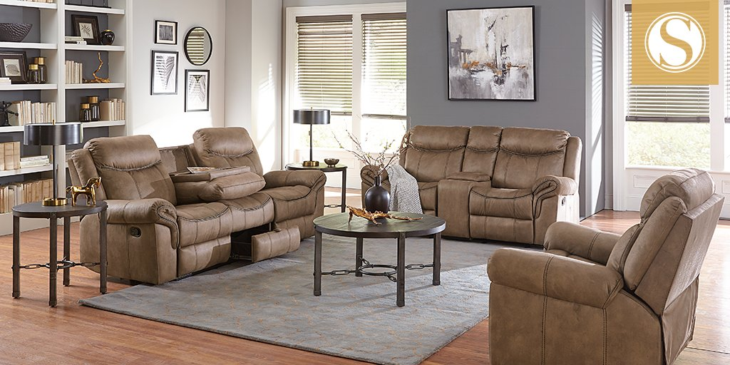 Standard Furniture On Twitter Warm Up Your Living E With The Knoxville Upholstery Set Featuring A Fabulous Drop Down Console Hidden Center Storage