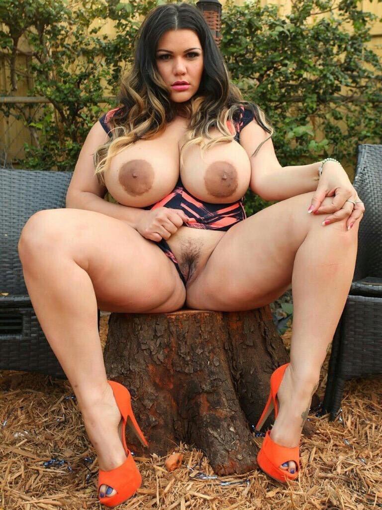 Bbw pornstars like arianna sinn love showing those big tits while outside