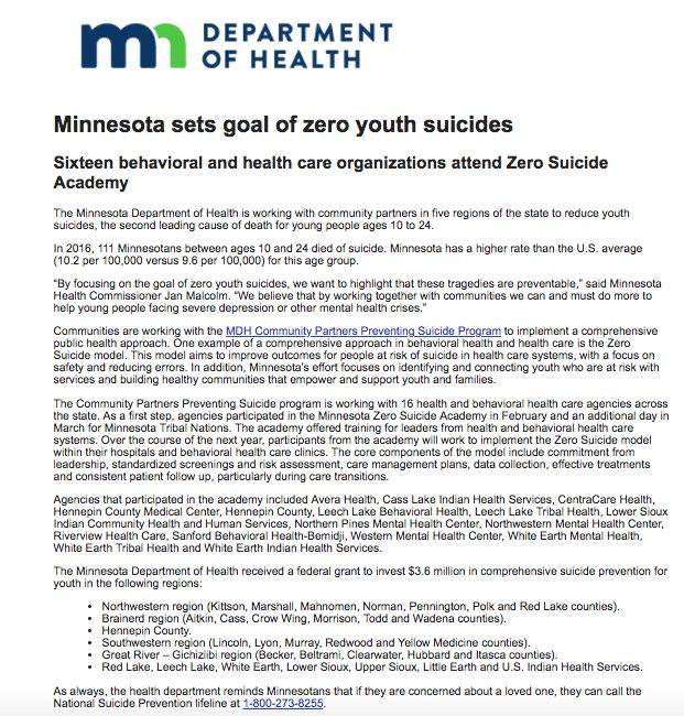 Undergrad Pubh Minor On Twitter Mdh News Release Minnesota Sets
