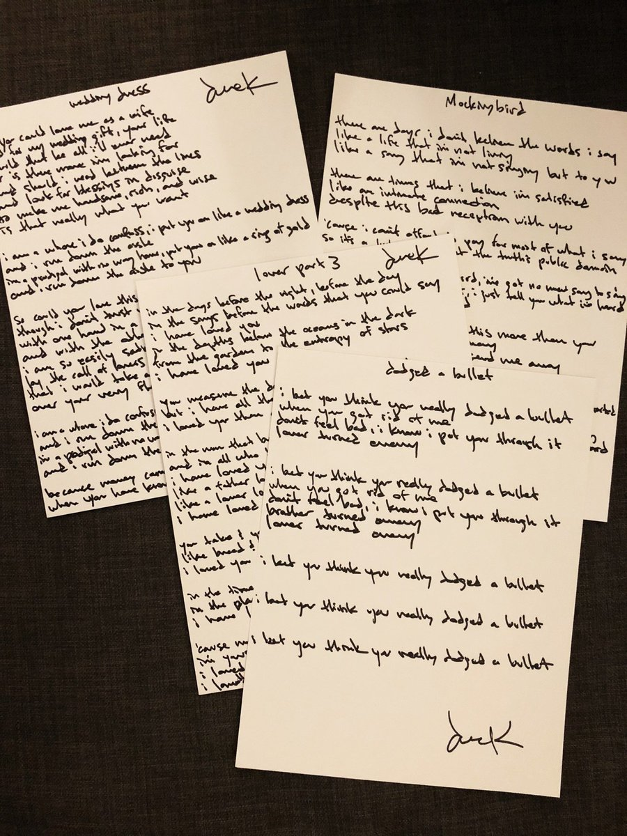 Derek Webb On Twitter Handwritten Lyric Sheets Are Back In Stock