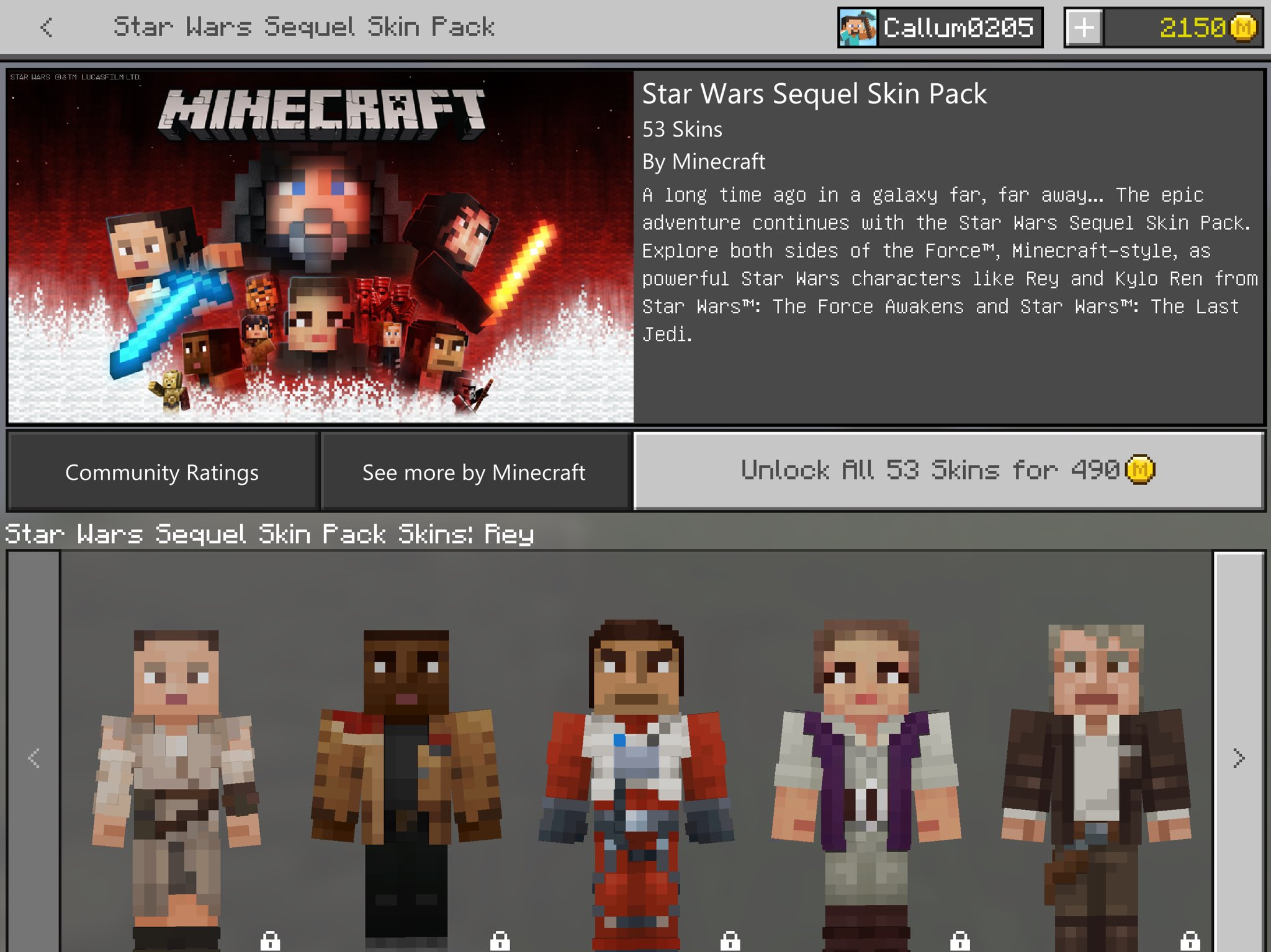 MCPE BETA On Twitter The Star Wars Sequel Skin Pack Is Now - Skin para minecraft pe rey