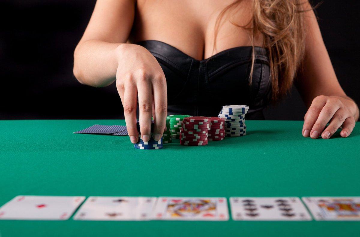 Sexy poker player stock photo