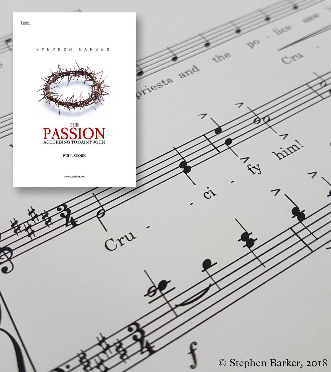 Looking forward to hearing the choir of St Stephen's Church, Canterbury, sing the first performance of my setting of the #Passion according to St John on #GoodFriday at 2pm. As always, I'm grateful for their willingness to sing my music! #HolyWeek2018