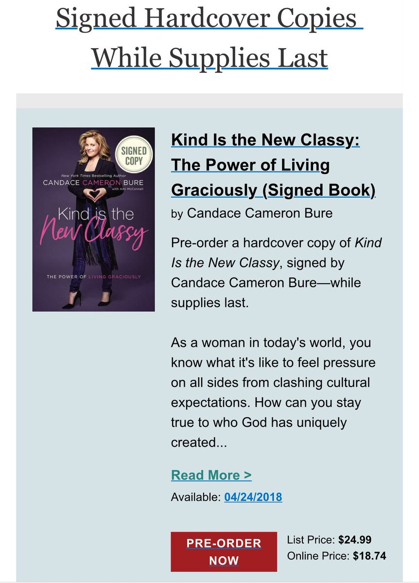 Order While Supplies Last Mbarnesandnoble W Kind Is The New Classy Candace Cameron Bure 1126606248ean9780310353959 Pictwitter
