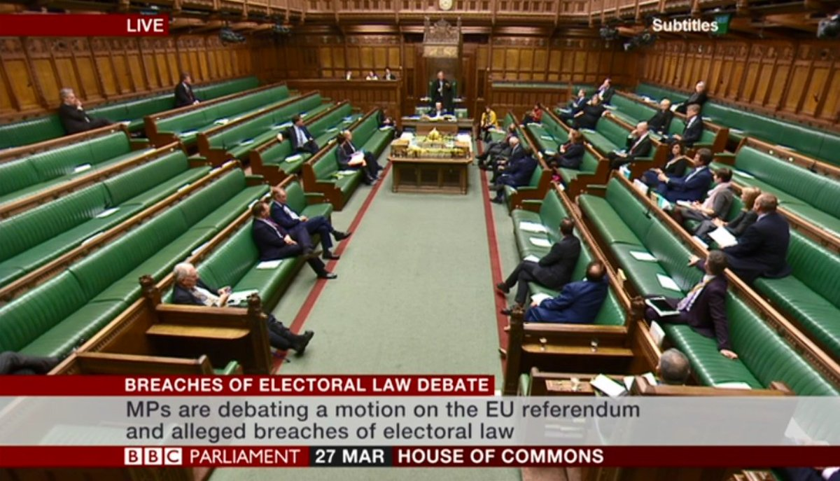 Just 7 Tories in the chamber for this vital debate other than the Ministers & none of them wanting to make a speech.  It's staggeringly hypocritical that many of them to campaigned to the leave the EU to 'enhance our democracy' but fail to show their face in a debate like this.