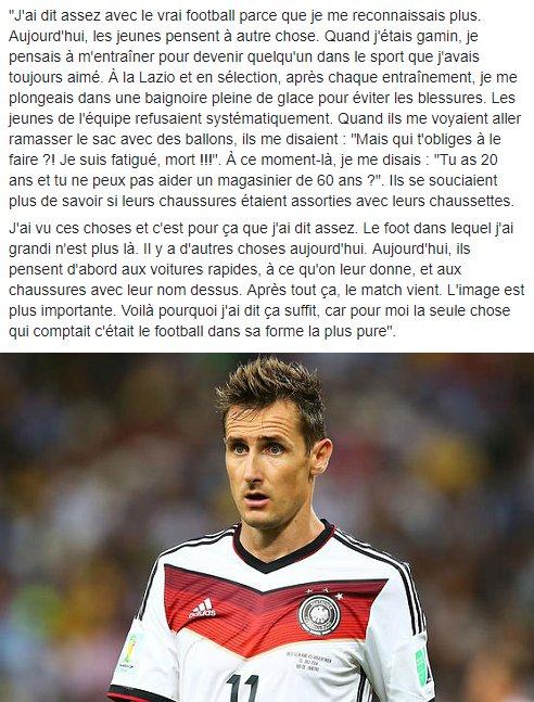 Ces propos forts de Miroslav Klose qui n'aime pas la mentalité de la nouvelle génération 👌